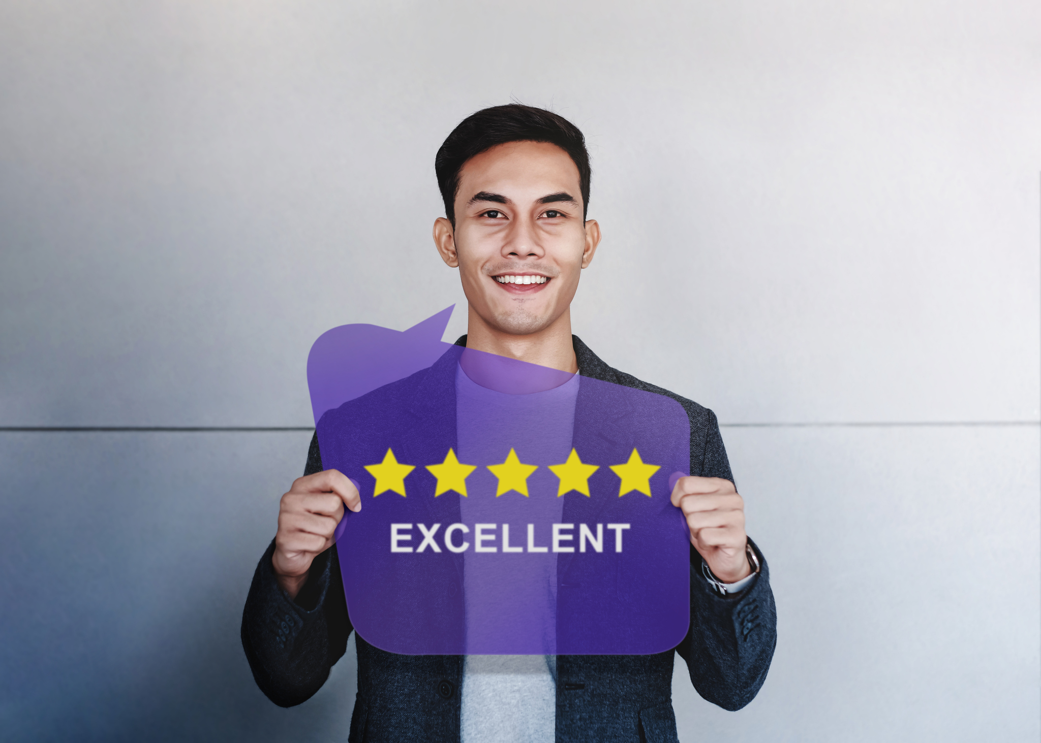 Customer Experiences Concept. Happy Client Showing Five Stars Rating and Positive Review on Speech Bubble Card. Client Satisfaction Surveys and Feedback