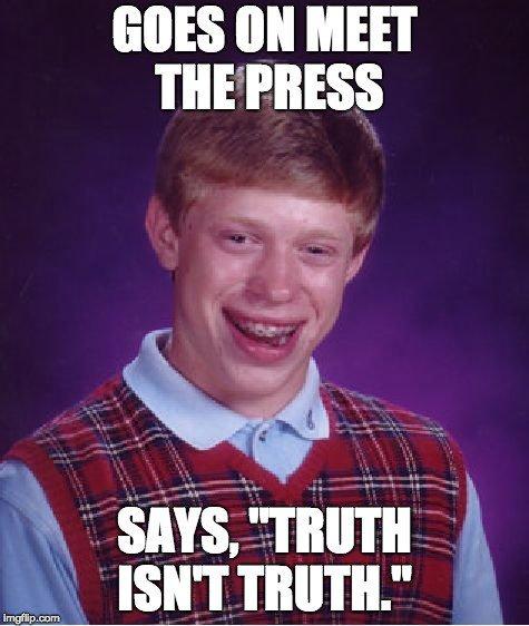 Meme of awkward boy with braces saying truth isn't truth