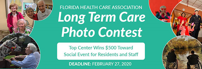 Advertisement for the Florida Health Care Association's long-term-care photo contest.