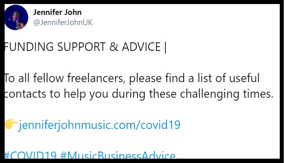 Screenshot of tweet offering support to freelancers.