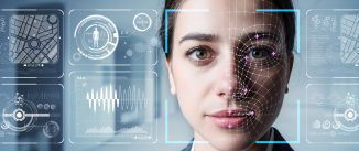 Woman's face surrounded by all data about her.
