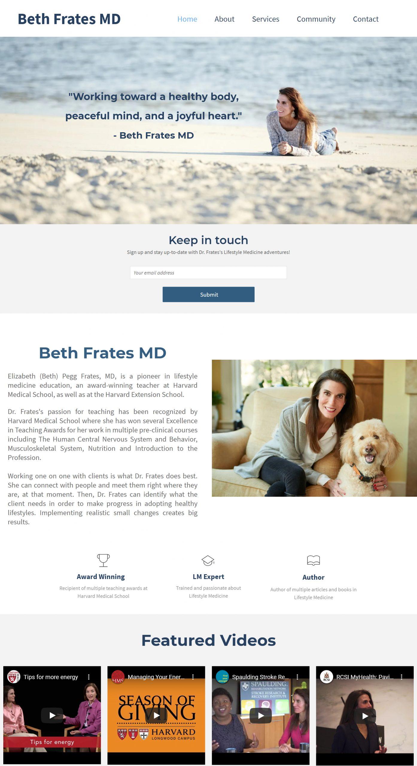 Screenshot of Beth Frate's website