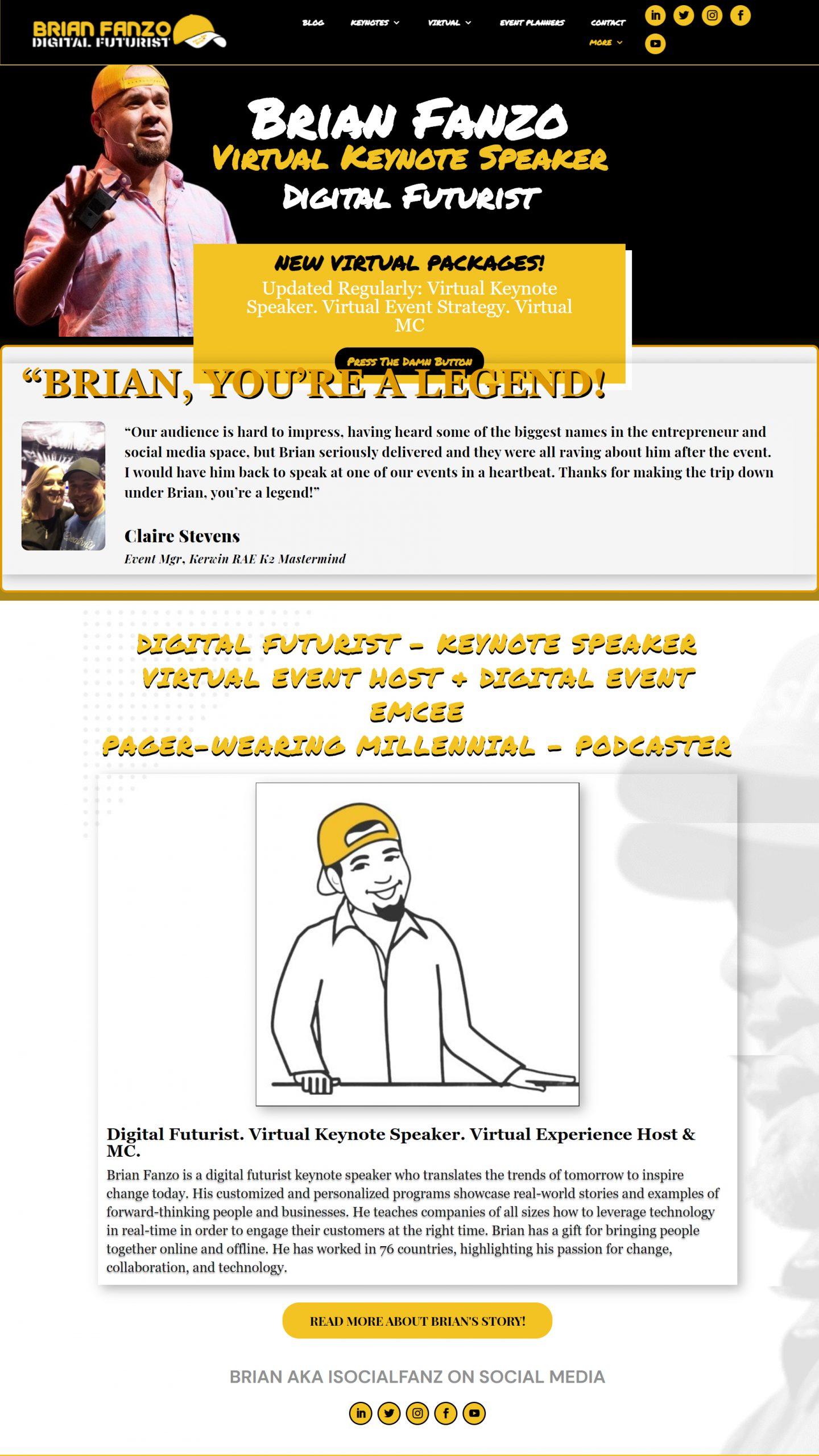 Screenshot of Brian Fanzo's website