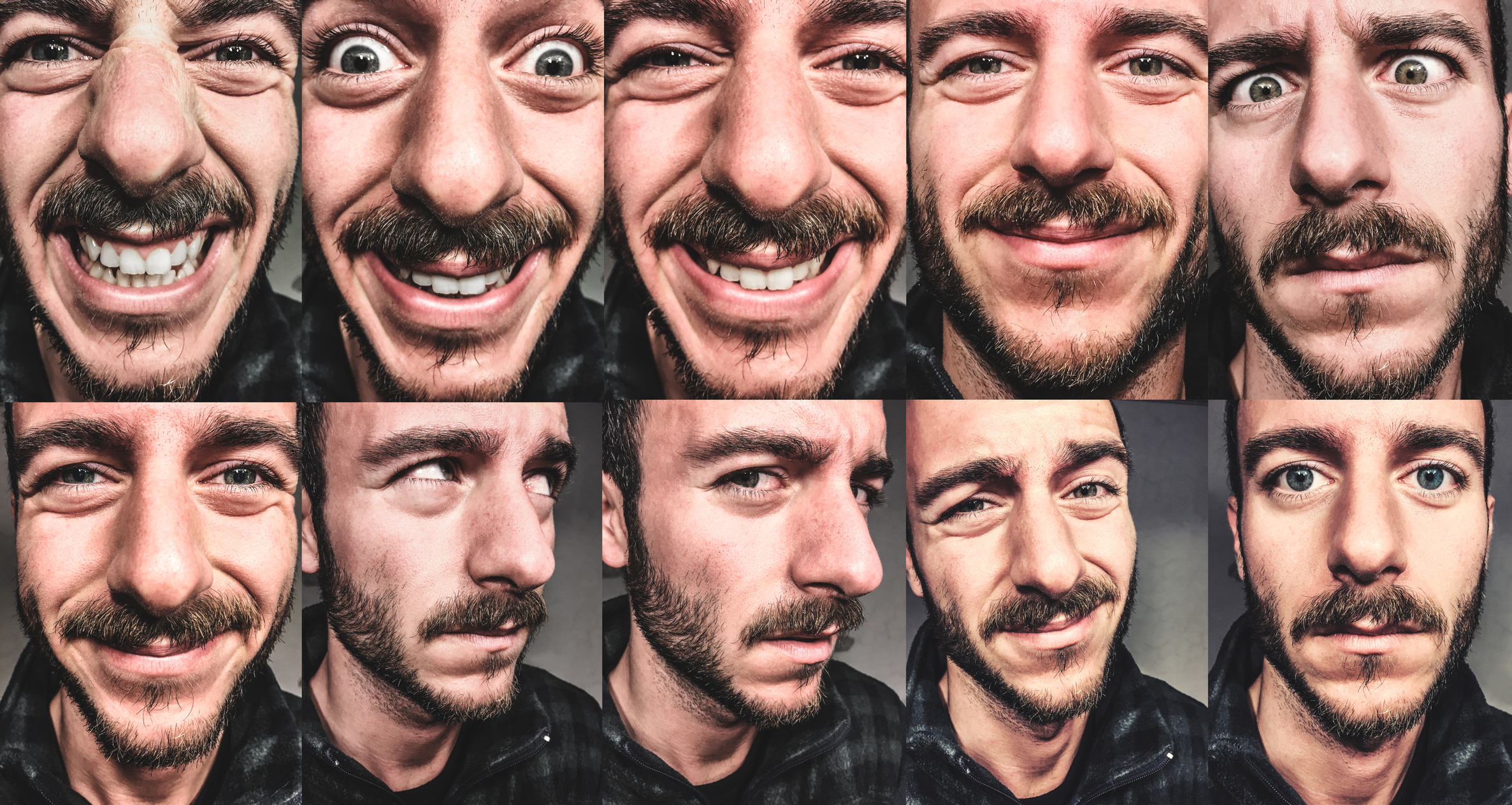 Multiple expressions of a man's face.