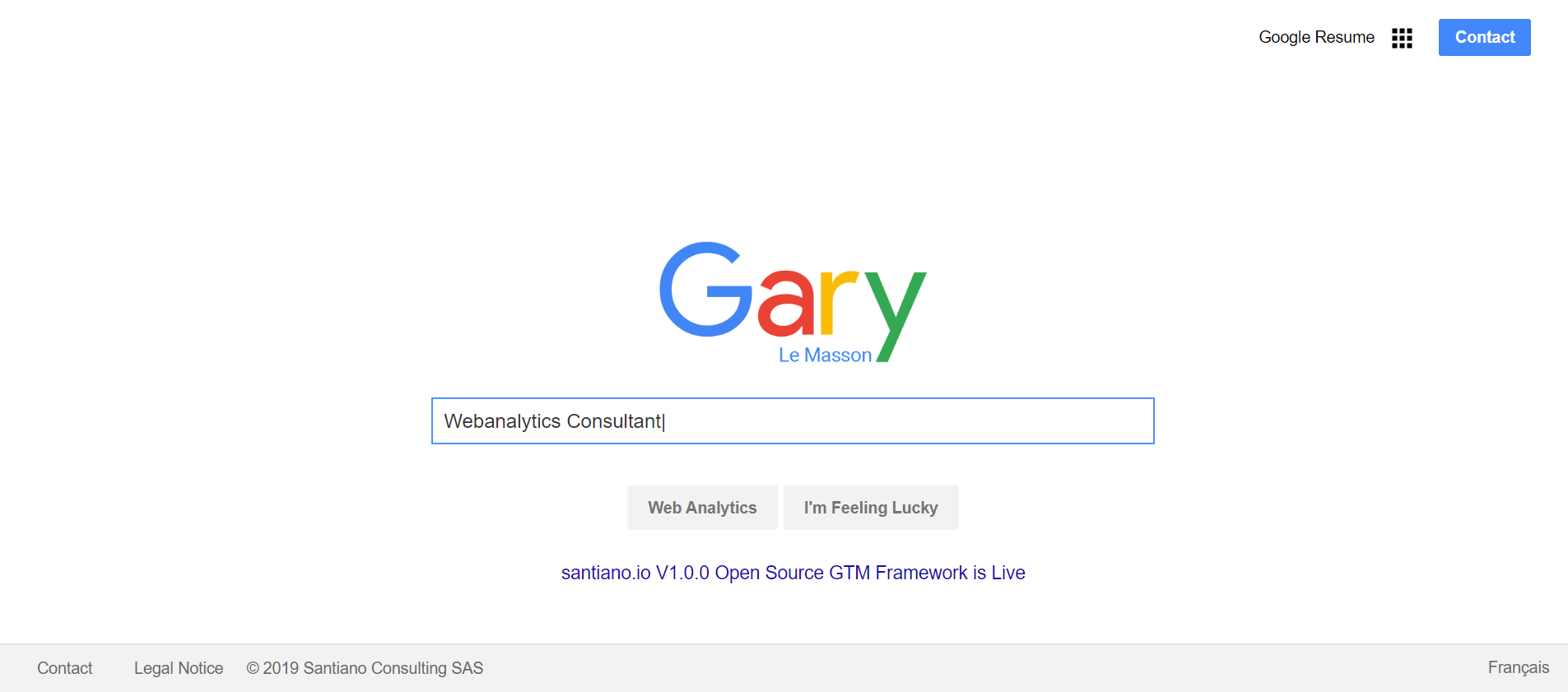 Screenshot of Gary Le Masson's website