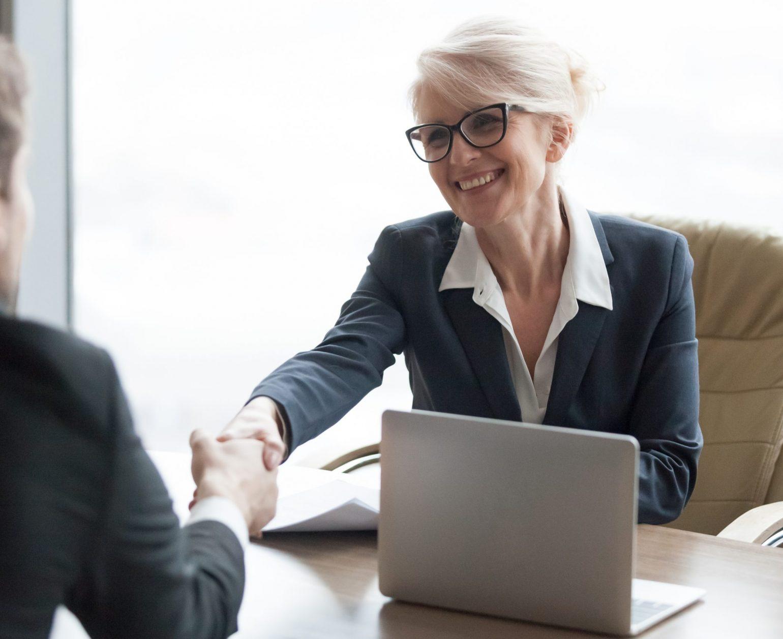 woman conducting job interview