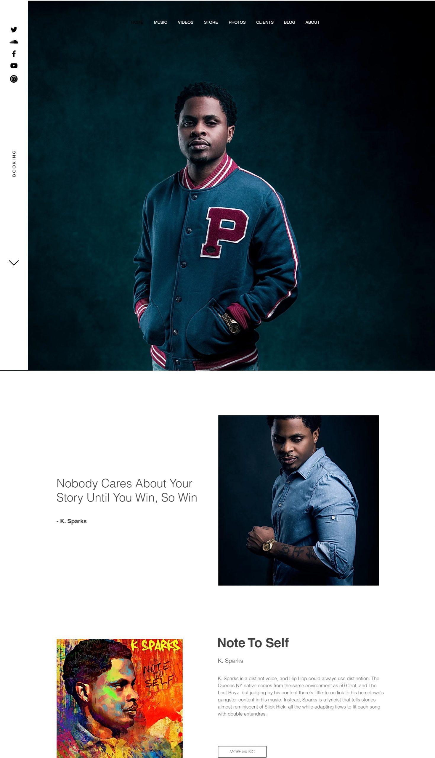 Screenshot of K Sparks's website