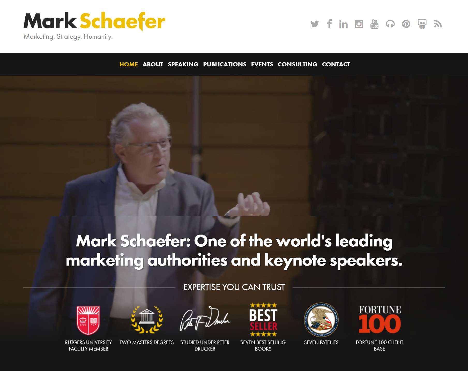 Screenshot of Mark Schaefer homepage