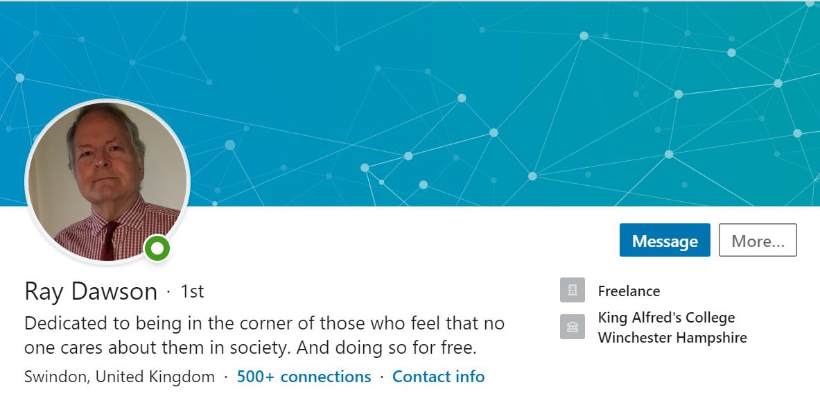 Screenshot of Ray Dawson LinkedIn profile