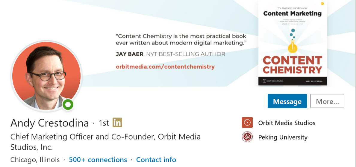 Screenshot of Any Crestodina's LinkedIn profile picture.