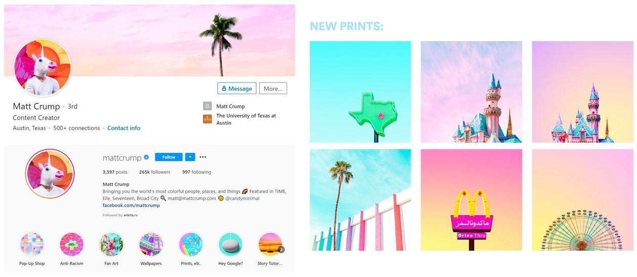 Screen shot of Matt Crump brand examples