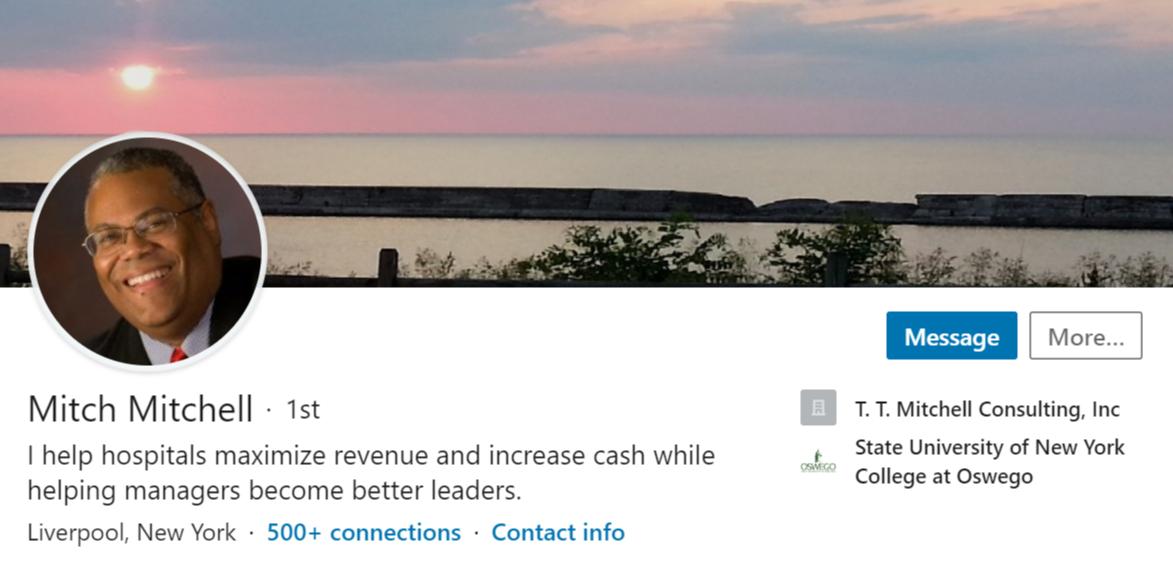 Screenshot of Mitch Mitchell's LinkedIn photo.