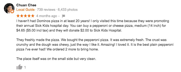 Screen shot of detailed pizza review