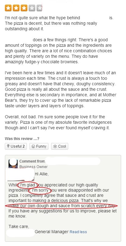 Screen shot of good response to a mixed review