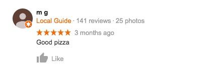 Screen shot of short, nondescriptive review of pizza restaraunt