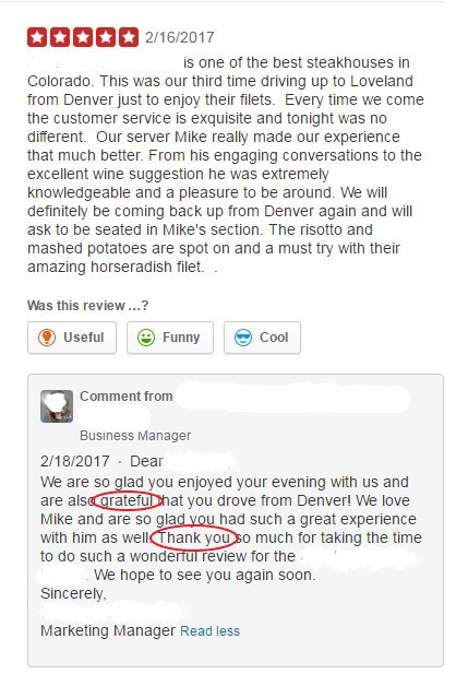 Screen shot of a thankful review response
