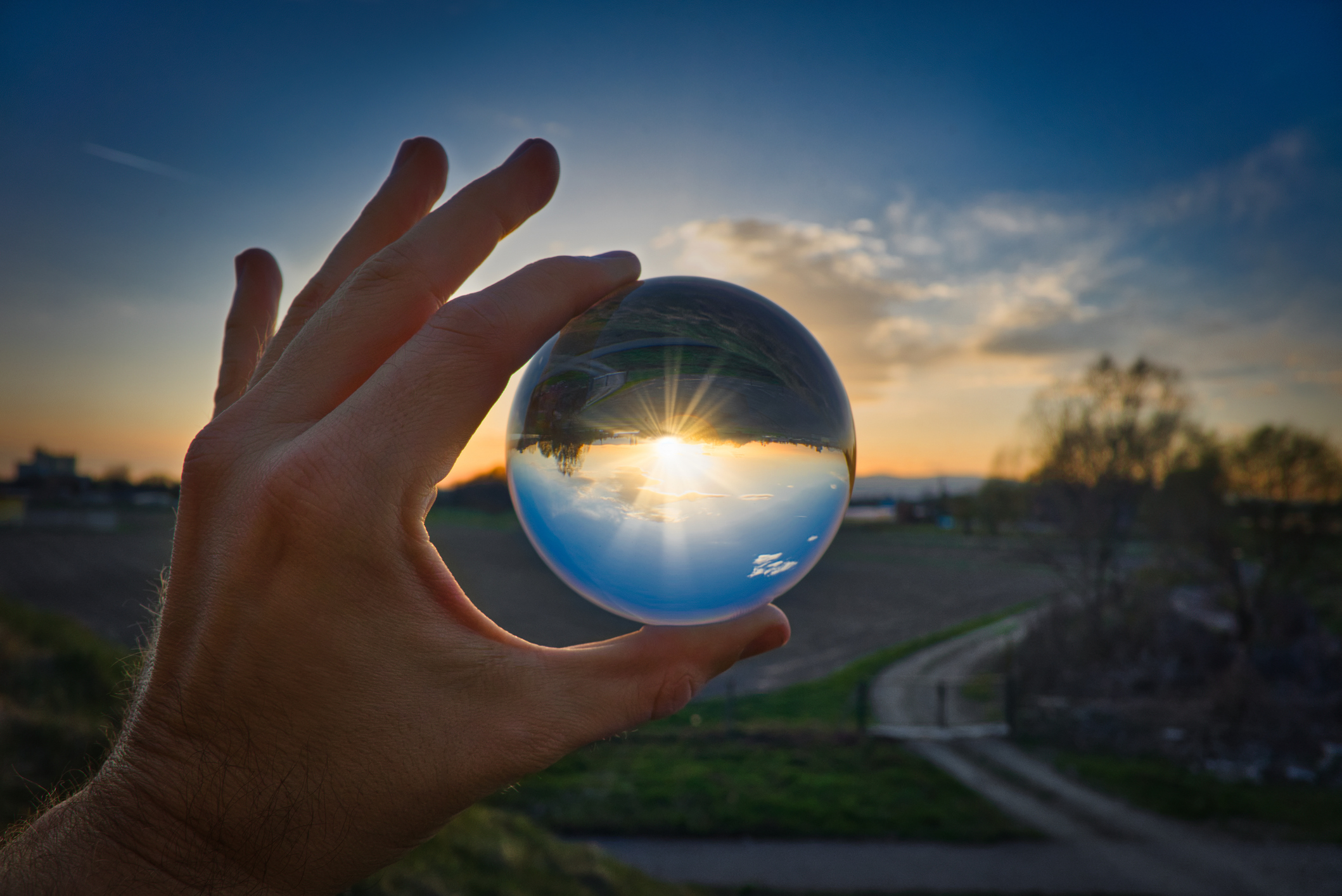 A hand holding a crystal ball looking into horizon at sunset.
