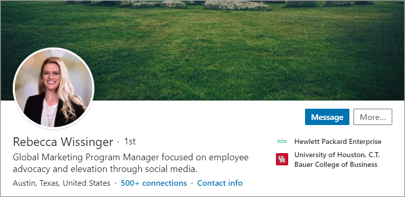 Screen shot of Rebecca Wissinger's LinkedIn headline and photo