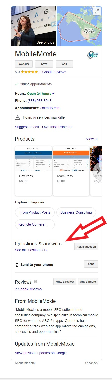 Screen shot of Mobile Moxie local knowledge panel with Q&A section highlighted.
