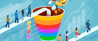 Isometric funnel infographic of a customer retention strategy