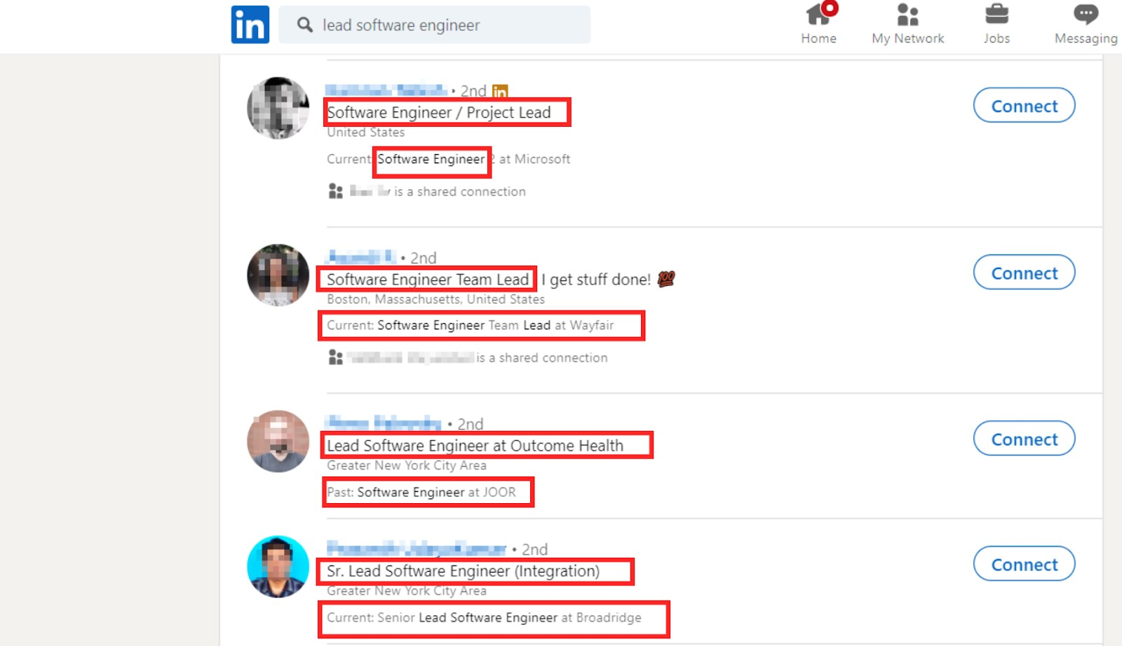 Screen shot of LinkedIn search for lead software engineer