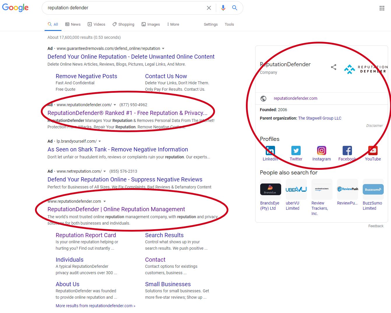 Screen shot of ReputationDefender's search results.