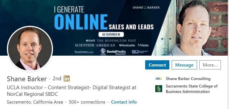 Screen shot of Shane Barker's LinkedIn profile headline