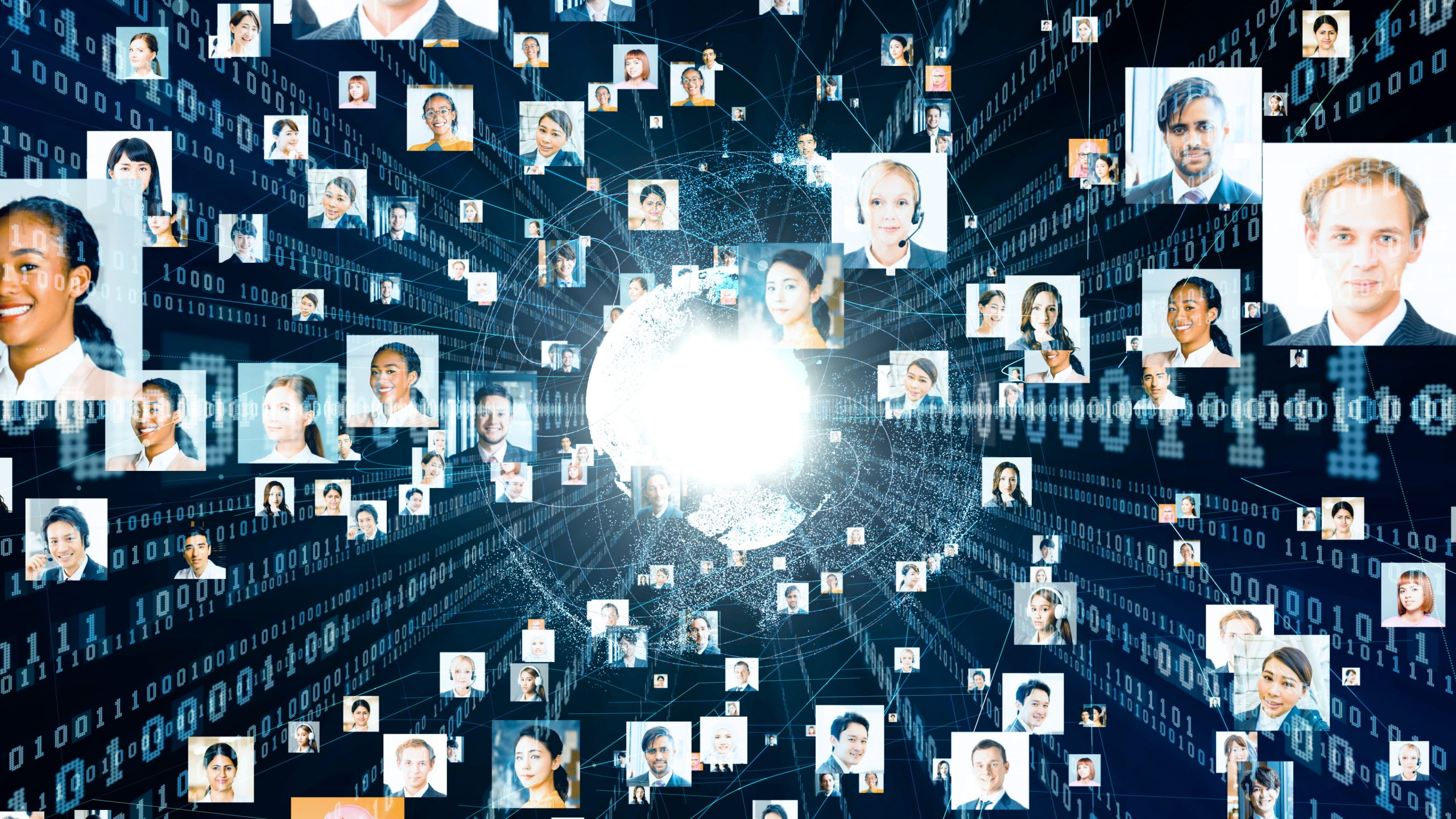 Numerous headshots of people displayed against black background with blue 1s and 0s indicating a web of information. Global communication network concept.