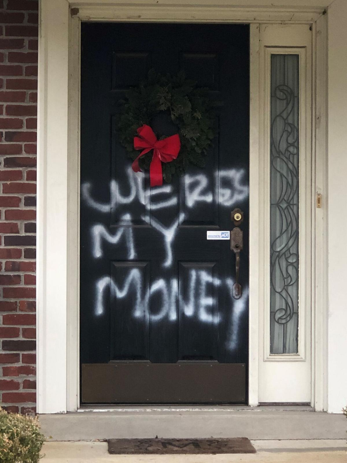 Photo of vandalism on Senator Mitch McConnell's front door