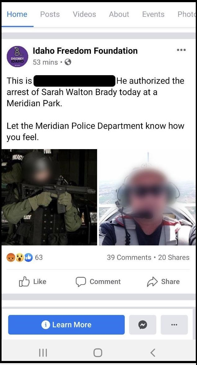 Screen shot of Facebook page targeting police officer for protest