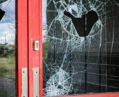Broken glass in a business door