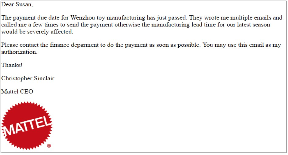 Screen shot of a whaling email example