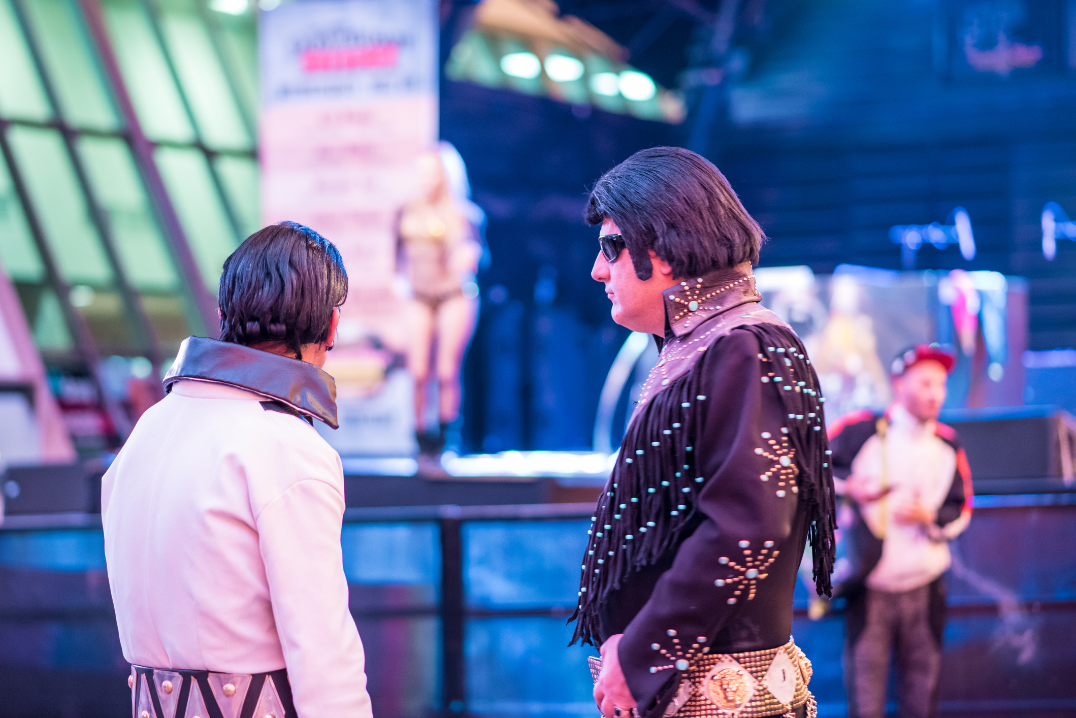 Two Elvis impersonators hanging out at the historic Fremont Street Experience, downtown Las Vegas.