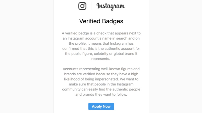 Screen shot of an Instagram phishing email about being verified.