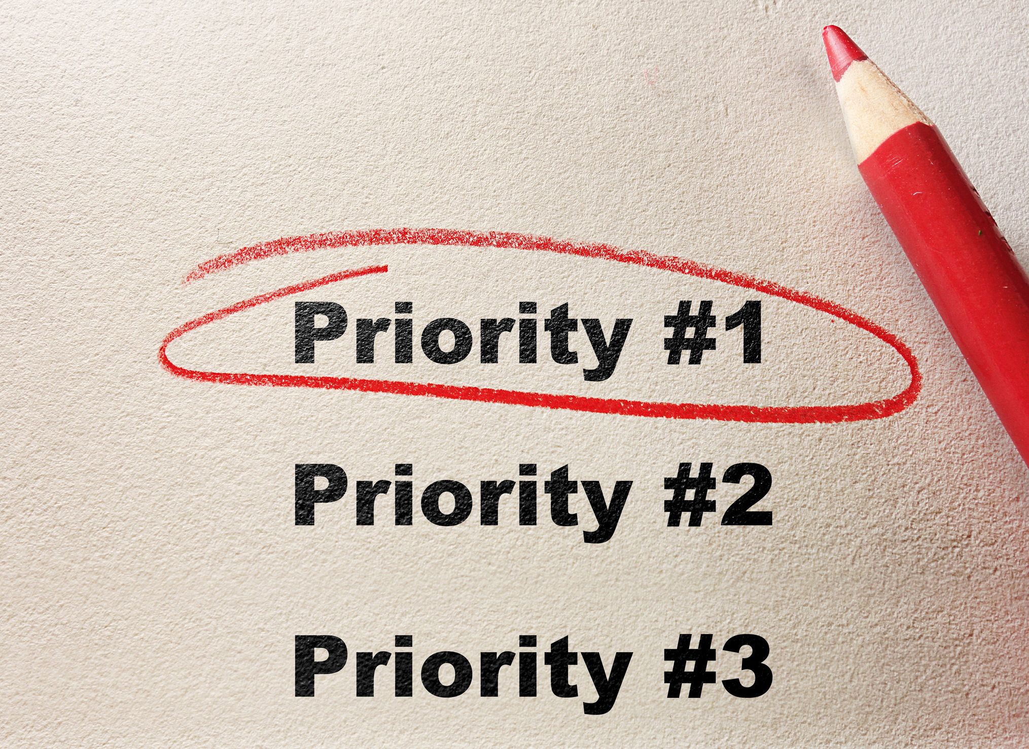 Priority #1-3 on paper with priority #1 circled with red pencil