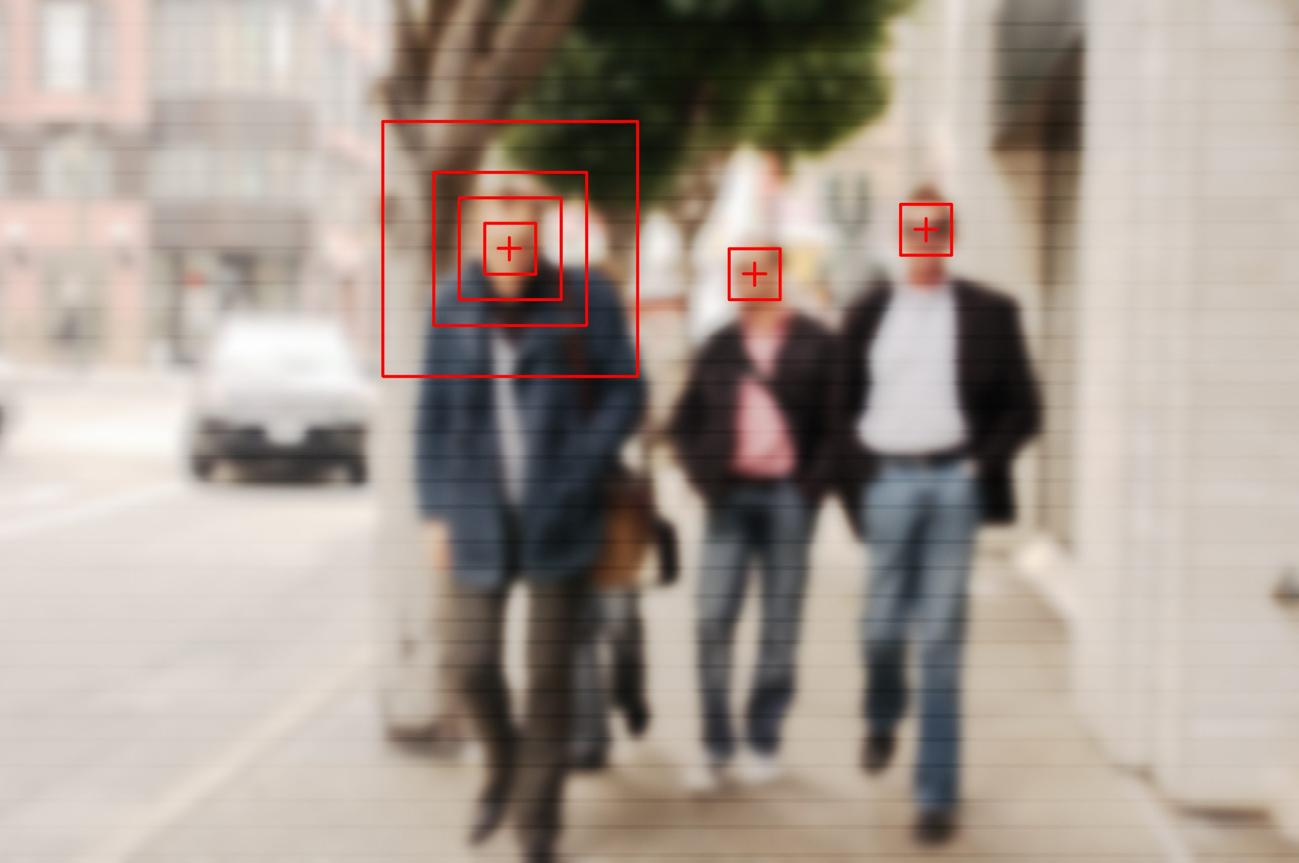Face recognition signs and tags on people faces. Privacy and personal data protection. Blurred picture with drawn symbols.