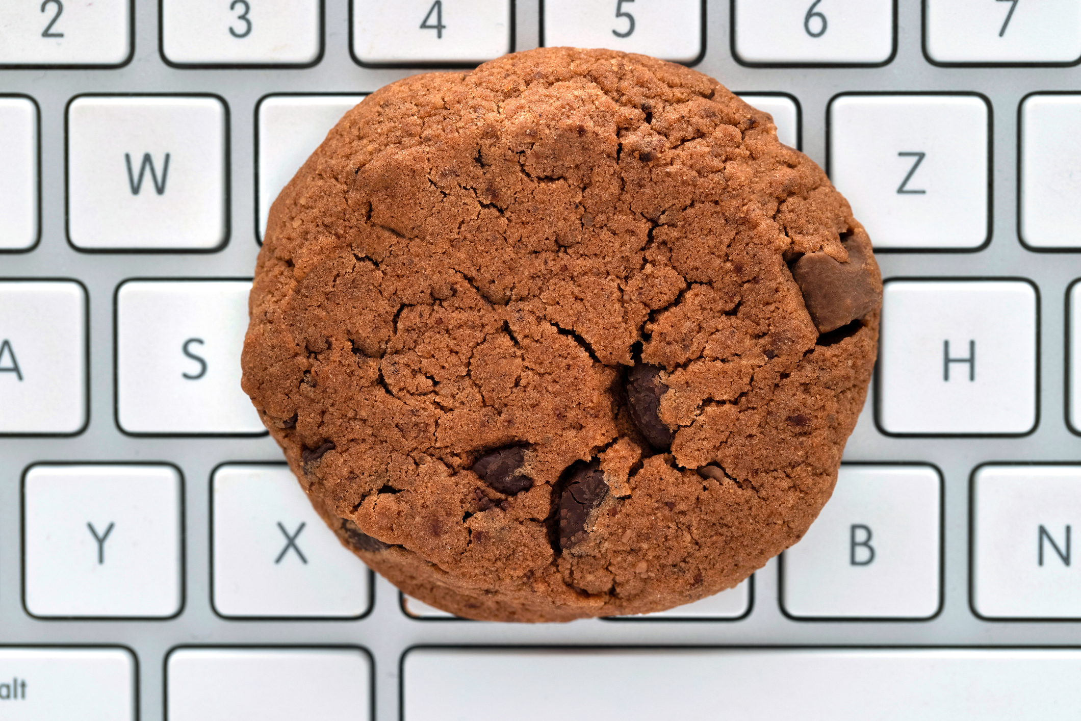 Brown cookie lies on a computer keyboard, as a symbol for data collection in the browser